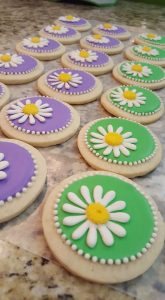Purple and Green Daisy Cookies