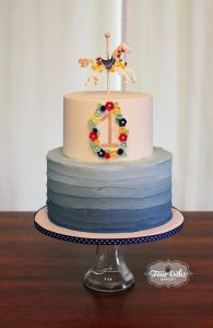 Shannons Cake Was Buttercream Frosted With Ombre Blue Texture On The Bottom Tier Top Iced Perfectly Smoothed So That Details Could Shine