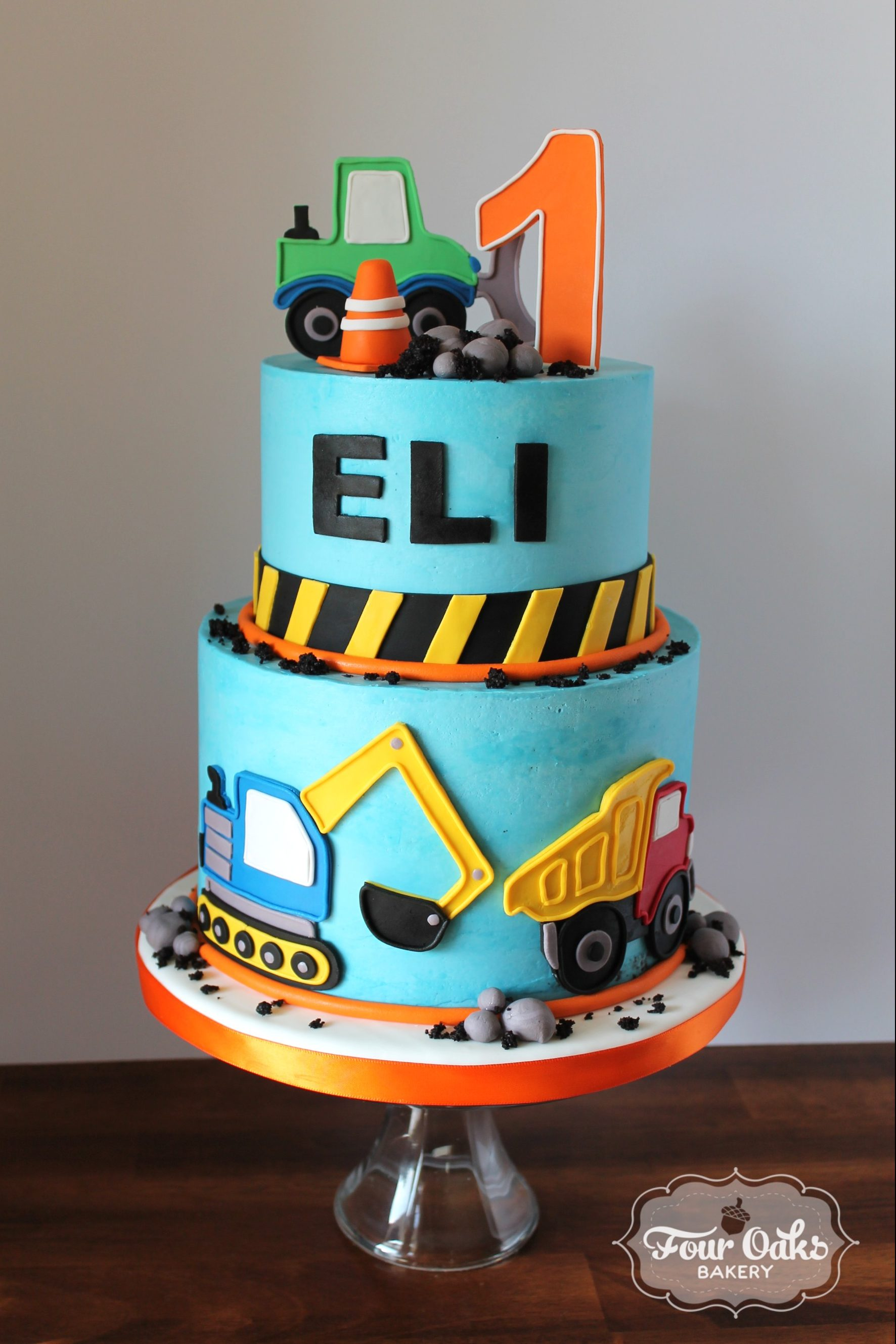 Eli's Construction Themed First Birthday Cake - Four Oaks Bakery