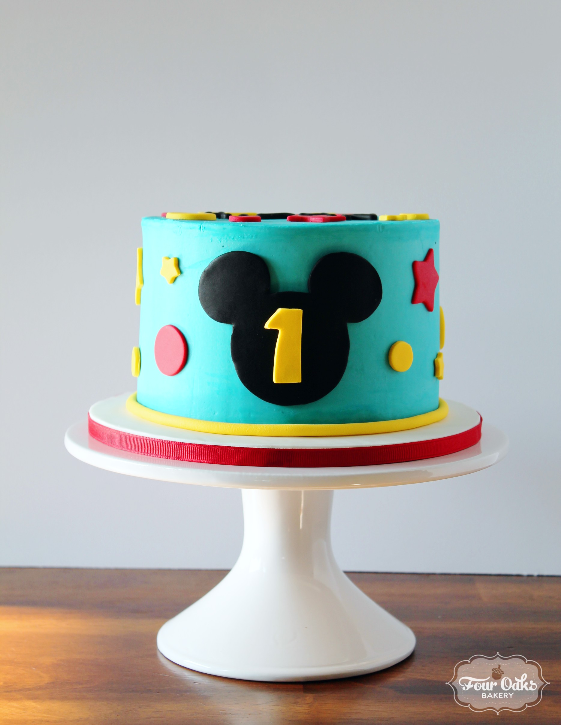Mickey Mouse Themed First Birthday Smash Cake Four Oaks Bakery