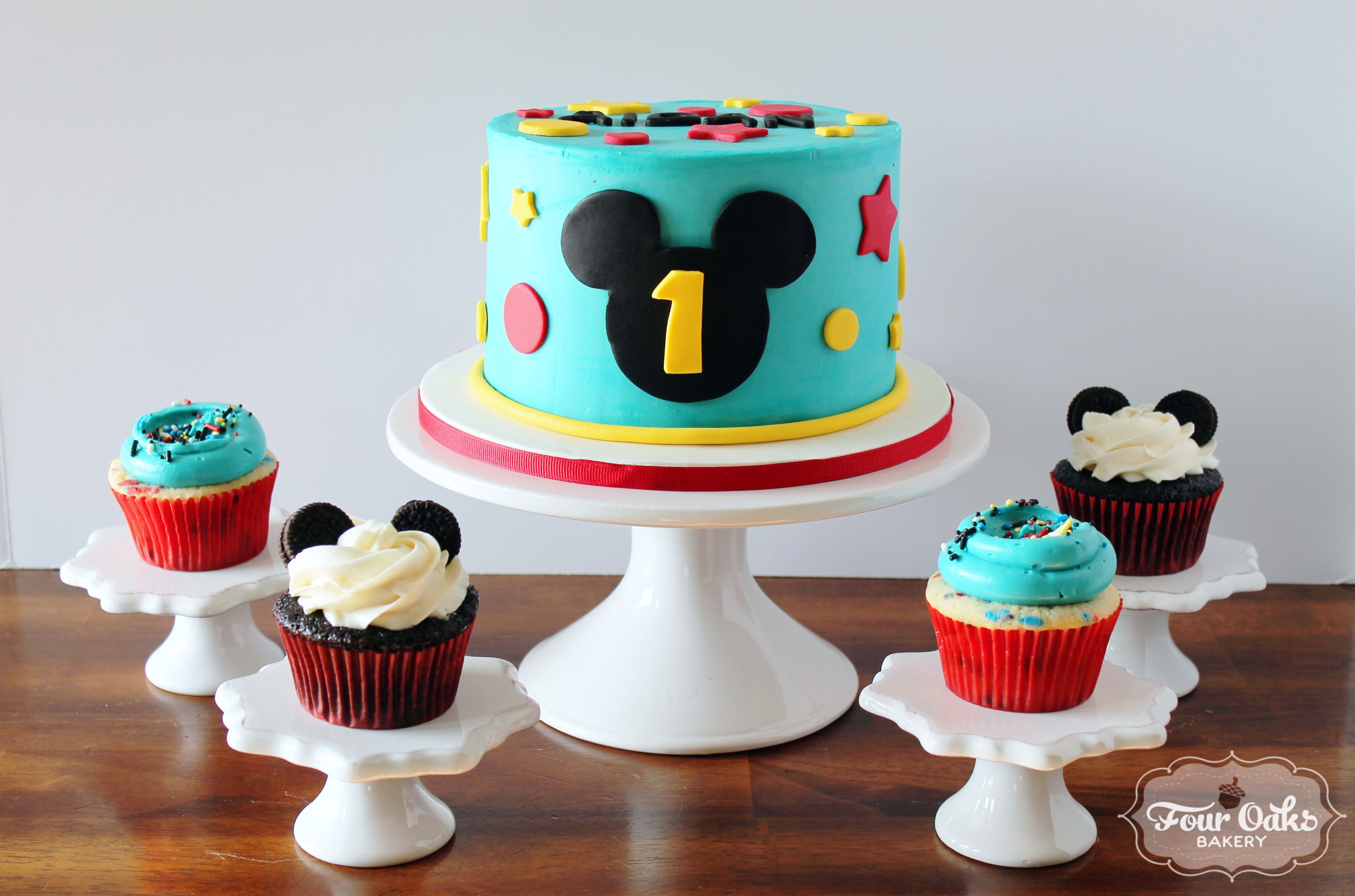 Mickey Mouse Themed First Birthday Smash Cake And Cupcakes Four