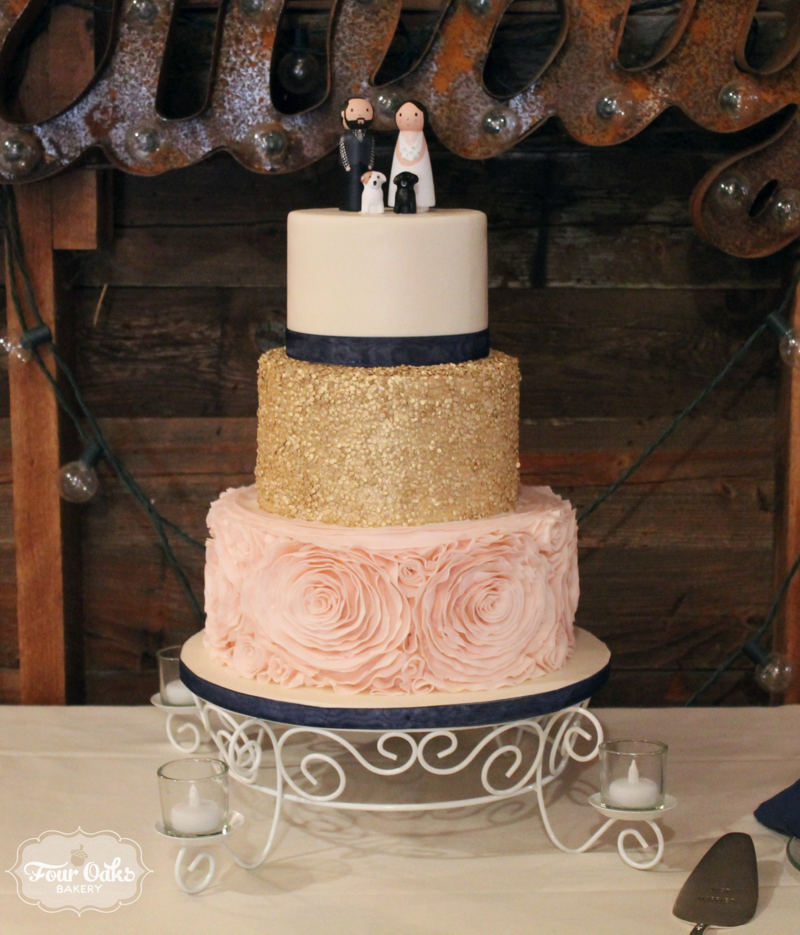 Blush Gold And Navy Wedding Cake