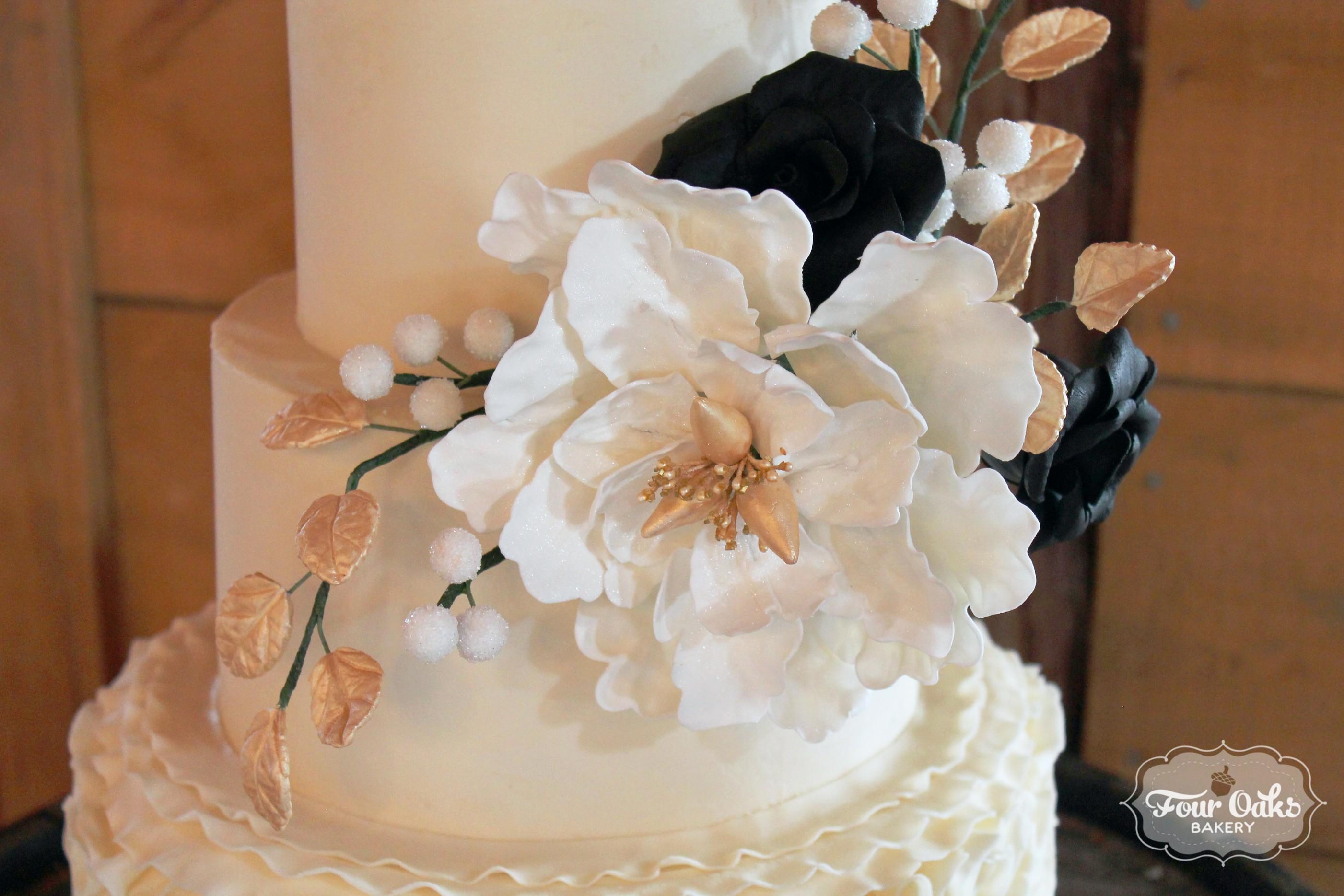 Gumpaste Flowers Black Gold And Ivory Wedding Cake