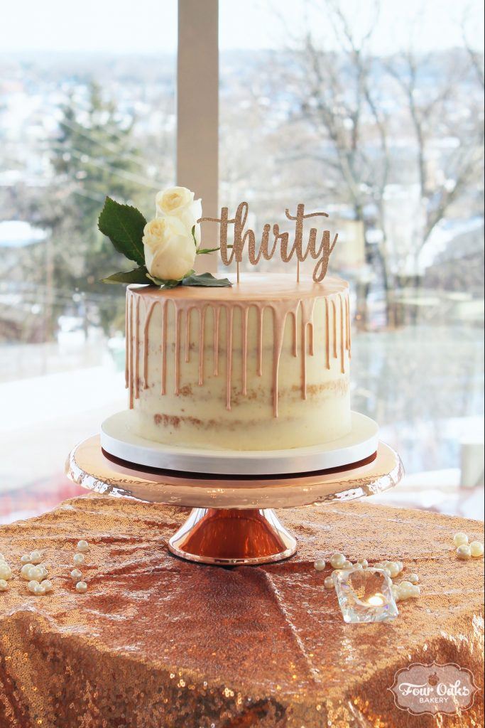 Rose Gold Semi Naked Drip Cake Four Oaks Bakery