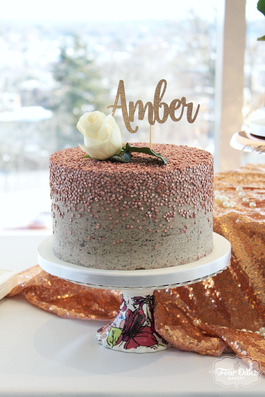 Rose Gold Sequins Cake - Four Oaks Bakery
